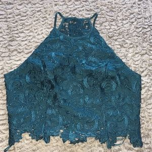 Guess Collena Lace Crop Top With Zipper